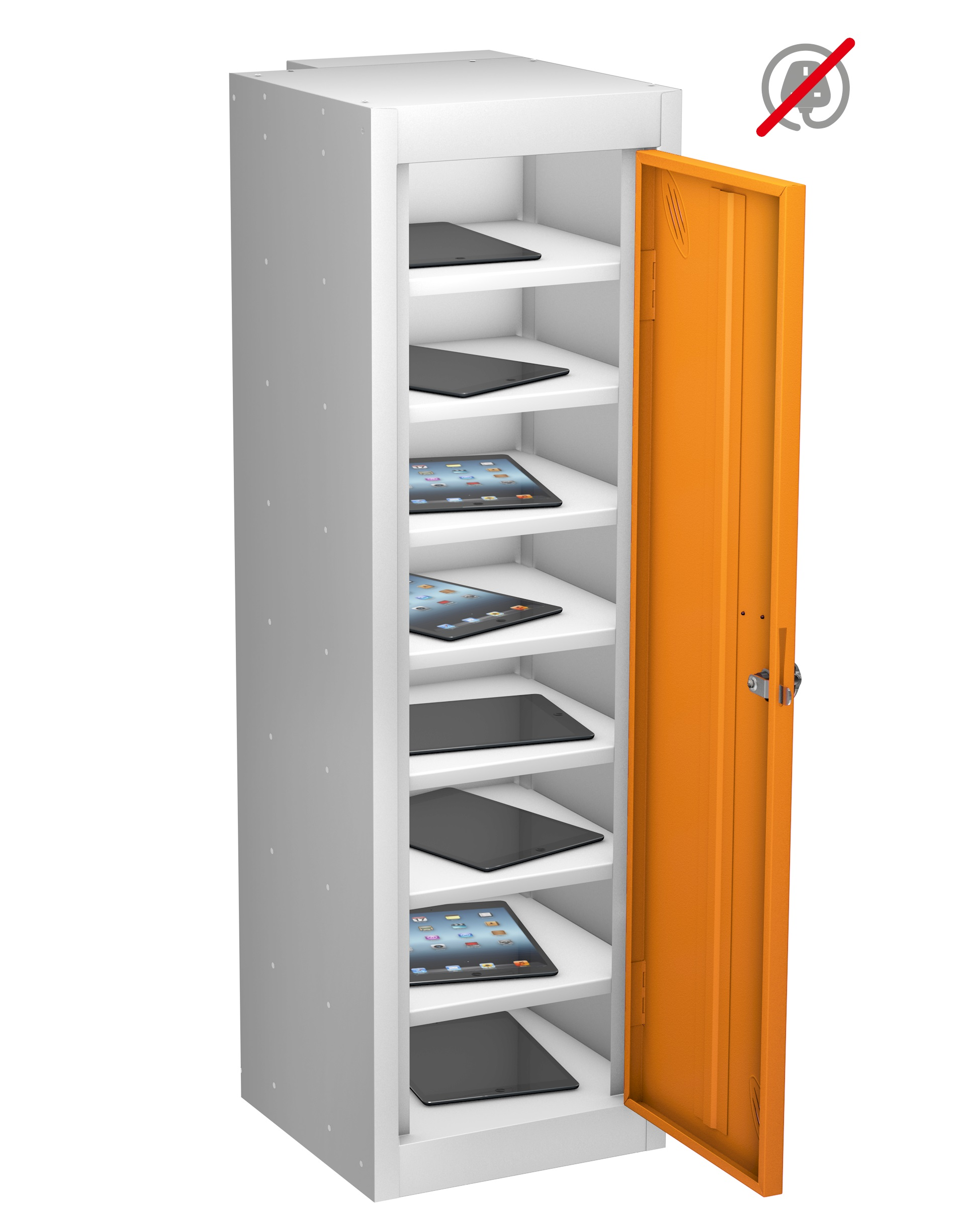LOW TABLET Locker Sgle Dr 8 Shelf - Non Charge