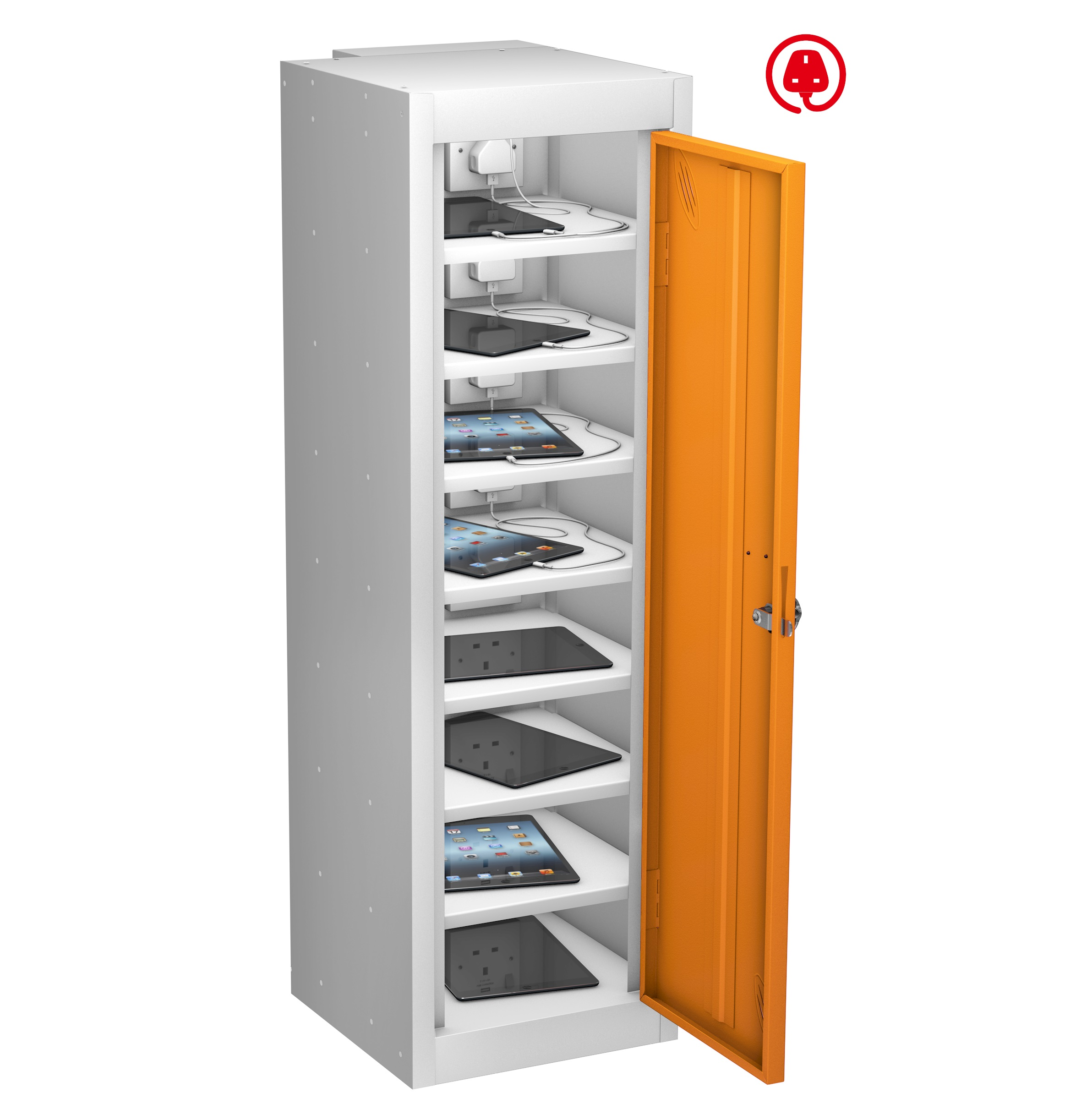 LOW TABLET CHARGING Locker Sgle Dr 8 Shelf