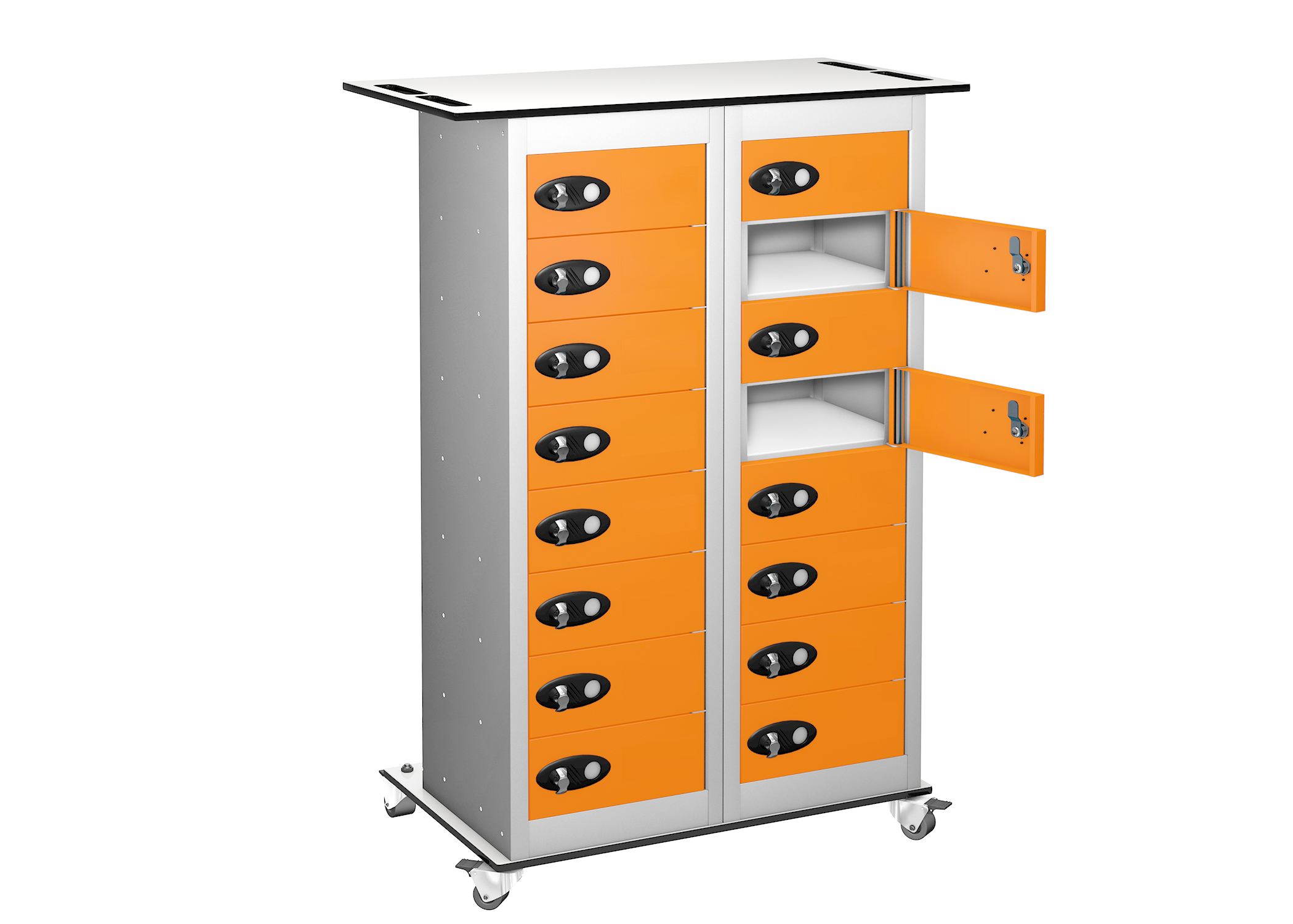 Trolley - Tablet Storage Locker -16 Compartments - 16 doors (Non Charging)