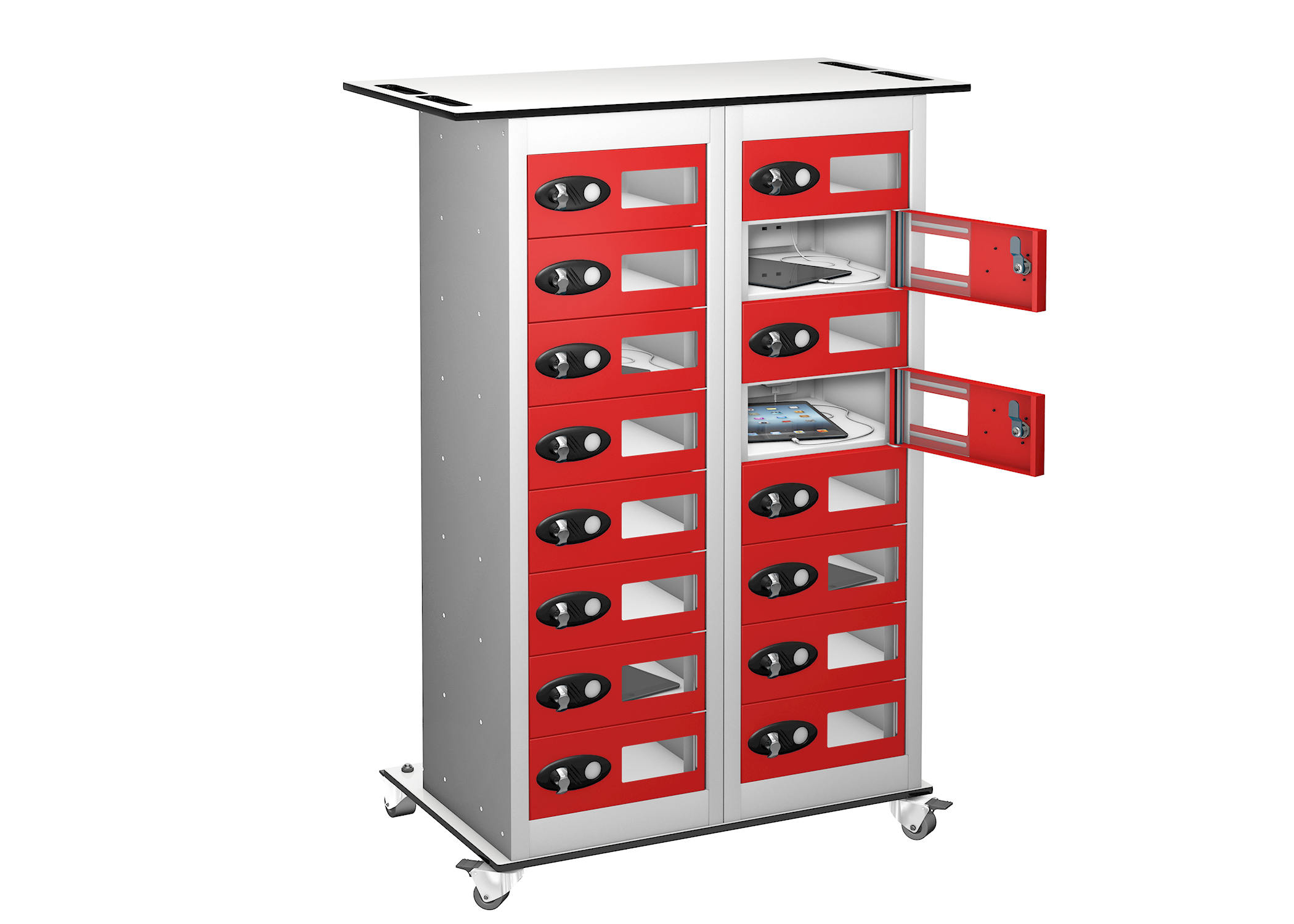 Trolley - VISION PANEL Tablet Storage Locker -16 Compartments - 16 doors (Non Charging)