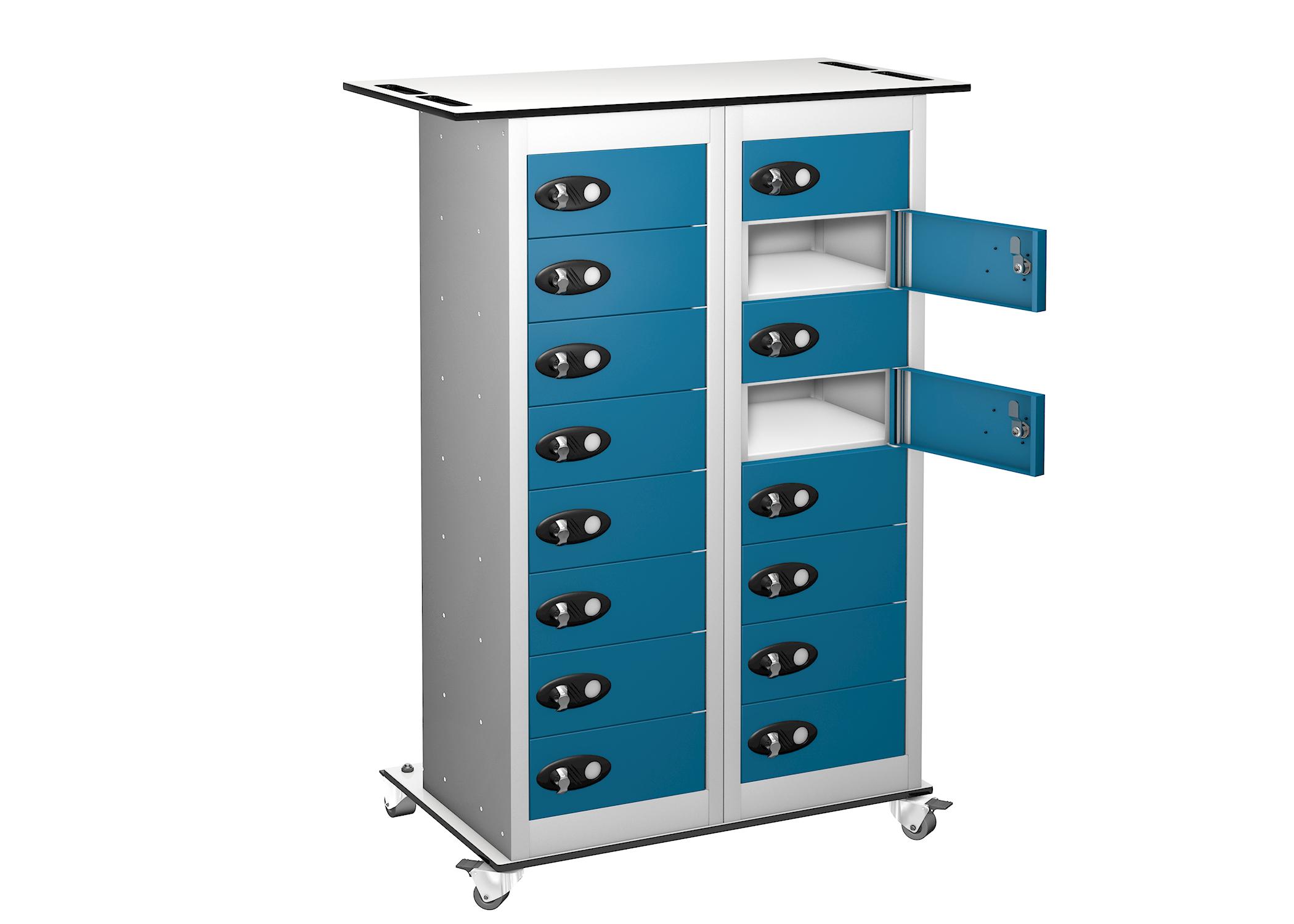 Trolley - Tablet Storage Locker -16 Compartments - 16 doors (Charging)