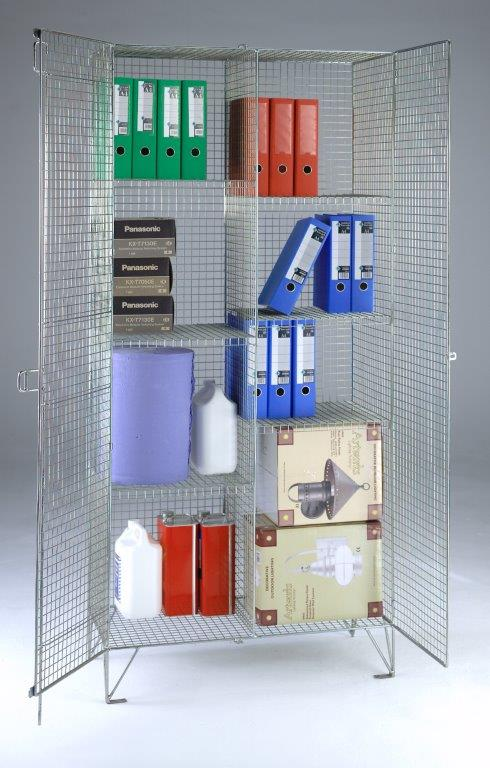 Wire Mesh Divided Cupboard - 6 Shelves