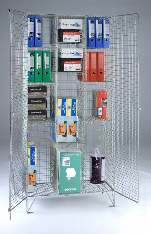 Wire Mesh Divided Cupboard - 9 Shelves