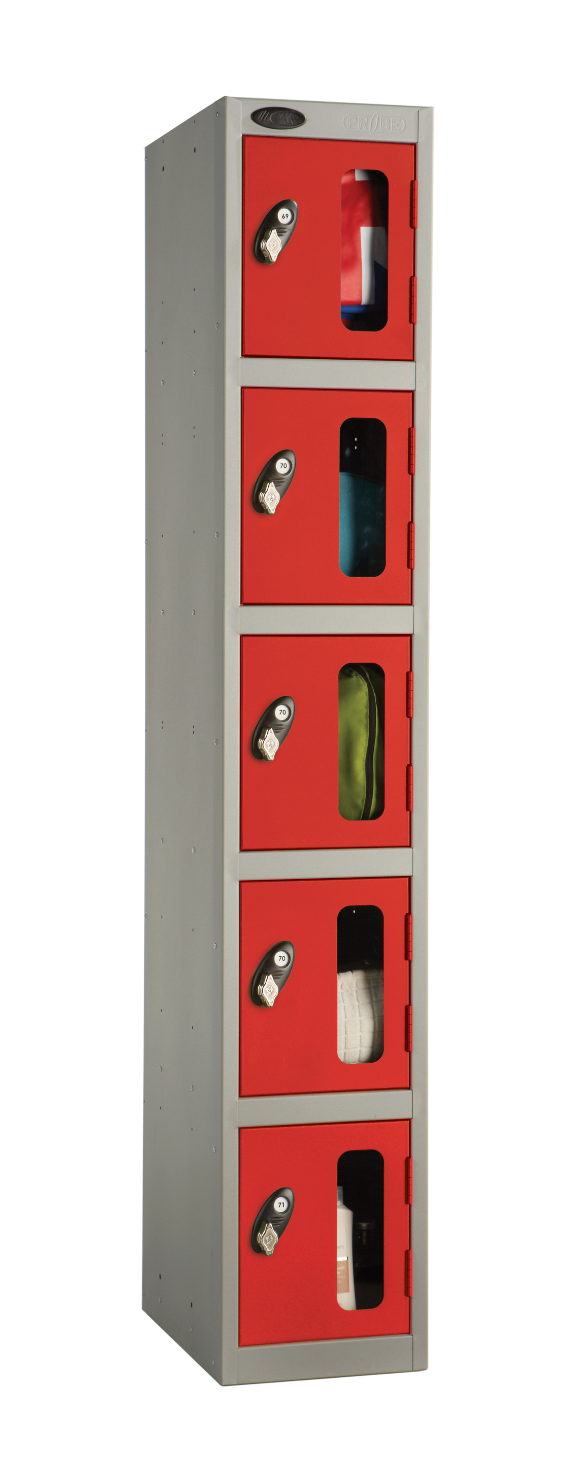 Five Compartment Vision Panel Security Locker